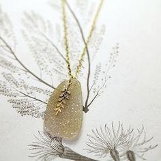 Image of fern leaf & druse quartz long necklace