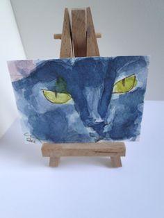 ACEO art Black Cat Eyes Original Watercolour & Ink Painting OOAK £3.00