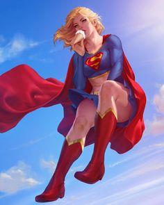 Supergirl, Krystopher Decker - Digital Art (Character, Creature & More) Dc Comics Art, Marvel Dc Comics, Heros Comics, Dc Comics Girls, Dc Heroes, Rogue Comics, Thor Marvel, Supergirl Comic, Supergirl Season