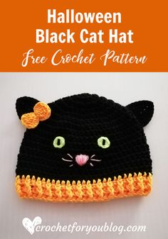 Crochet Beanie Ideas Crochet Halloween Black Cat Hat Free Pattern - Crochet For You - The black Crochet Animal Hats, Crochet Kids Hats, Crochet Fall, Holiday Crochet, Crochet Beanie, Crochet Crafts, Crochet Projects, Free Crochet, Crochet Toddler Hat