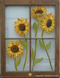 """""""Sunflowers""""Price, USD: $155.00Status: AvailableSize (inches): 28 1/2h x 21 1/2wMedia: Paint on GlassNOTE:  It was decided to leave the current condition of the frame's finish alone because it add nice, warm charm to the piece."""