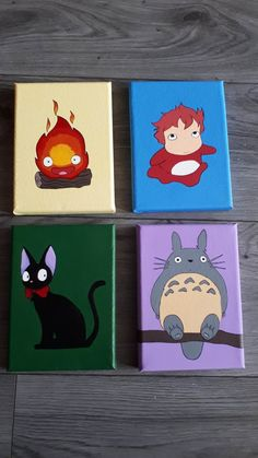 Set of 4 Studio Ghibli Character Mini Paintings Calcifer, Ponyo, JiJi and Totoro Simple Canvas Paintings, Easy Canvas Art, Small Canvas Art, Mini Canvas Art, Mini Paintings, Mini Toile, Art Studio Ghibli, Studio Ghibli Characters, Hippie Painting
