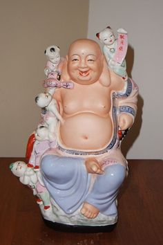 Vintage Chinese Family Rose Porcelain Happy Buddha with Kids Figurine Statue 13 Chinese Babies, Deities, Statues, Laughing, Buddha, Japanese, Rose, Best Deals, Classic