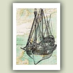 Sailboat art Print, old war vessel, reproduction old map, Nautical art, Coastal…