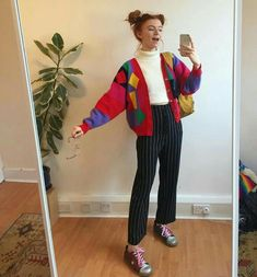 pinterest // imissyouido Vintage Fashion 90s, 90s Fashion Grunge, 80s Fashion, Korean Fashion, Vintage Outfits, Fashion Outfits, 90s Colors, Bright Colours, Pulls