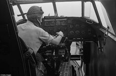 On the runway: Captain Joan Hughes at the controls of a Lockheed Hudson bomber in September 1944. After the War ended, the Londoner went on to become the UK's first female test pilot and was given an MBE in 1946