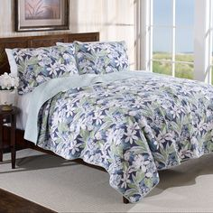 When you can't have fresh flowers, have the next best thing - the Tommy Bahama Newport Blue Reversible Cotton Quilt Set . Crafted with Tommy Bahama Quilts, Newport Blue, Grey Quilt, Quilt Sets, Inspired Homes, Bedding Sets, Interior Design, Shopping, Furniture