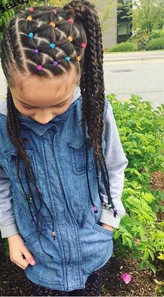 Mini French Braids for Little Girl 2019 75 Easy Braids for Kids with Tutorial Young Girls Hairstyles, Childrens Hairstyles, Baby Girl Hairstyles, Kids Braided Hairstyles, Box Braids Hairstyles, Kids Hairstyle, Black Hairstyles, Hairdos, Black Children Hairstyles