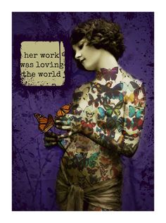 Art Deco Tattoo Butterfly Girl Photomontage Print Signed Mixed Media Collage Original Painted Photograph Wall Decor Valentines Day Gift on Etsy, $14.00