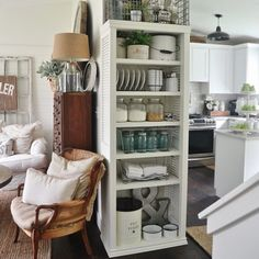 Cheap and easy DIY Kitchen Bookshelf, creative storage for small kitchens.