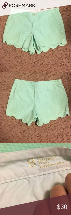 "Lilly Pulitzer mint colored Buttercup shorts sz 8 Worn & washed maybe twice. Mint green scallop-bottom Lilly Pulitzer shorts - style is ""The Buttercup"". Size 8. Super cute, check out my other listings :) Lilly Pulitzer Shorts"