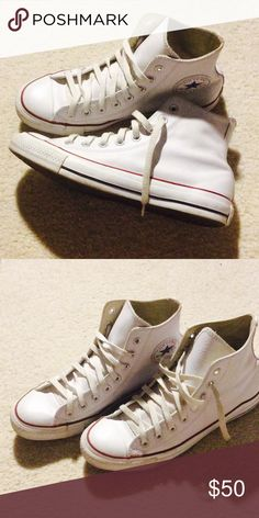 7272eba24fa6d White leather Converse high top size 7M  9W No scuffs of scratches on  leather.
