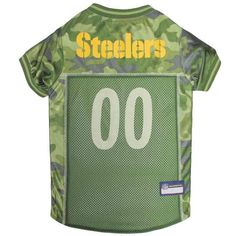 Product Features  · Authentic Camo Pattern  · Officially Licensed by NFL  · Official Team Logos and Colors  · Rib knit edging throughout  · Full mesh design for maximum breathability  · 100% Polyester, machine washable    Product Description    Pittsburgh Steelers NFL Football Camo Pet Jersey NFL Football Camo Pet Jerseyfeatures authentic mesh knit jersey material. Make sure your pet looks great on game day!  SIZING  This dog jersey uses three measurements, L (LENGTH FROM NECK TO BASE OF…