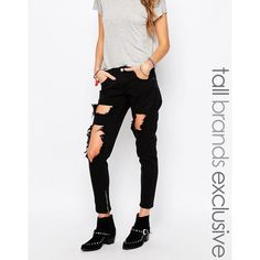 Liquor & Poker Tall Skinny Jeans With Extreme Distressing Ripped Knees ($57) ❤ liked on Polyvore featuring jeans, pants, black, destroyed denim skinny jeans, skinny fit jeans, tall skinny jeans, low rise jeans and distressed jeans