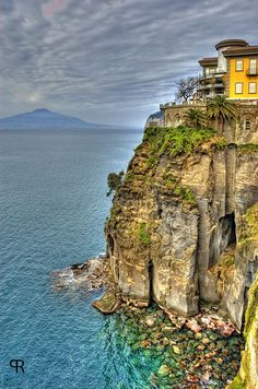 Sorrento, Italy  You climb down the wall of stairs to take a boat to Capri.    Beautiful.