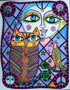 Hippie Art Original The Owl The Bird and The Moon by ZetasAttic, $25.00
