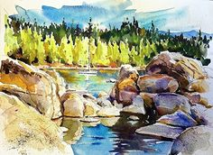 Safe Harbor, Lake Tahoe by David Lobenberg Watercolor ~ 11 inches x 15 inches