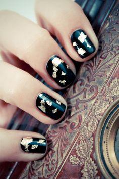 Gold Foil on Black Manicure
