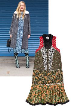 PLAY WITH PRINTS Arty, busy prints aren't for the faint of heart, but it's all about what you pair them with. Ground bold patterns with a fuzzy grey coat and graphic boots. Coach Long Front Placket Dress, $795, coach.com