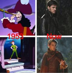 On the top you see Captain Hook, brother of Davy Jones. And on the bottom, Peter Pan, the great-grandfather of Hook's girlfriend's son. That's Once for you.