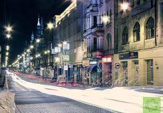 Gliwice wieczorową porą  (fot. Axsonns) Timeline Photos, Poland, Times Square, Street View, Travel, Viajes, Trips, Traveling, Tourism
