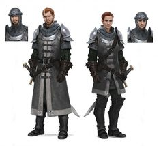 These knights are also designed very well, with appropriate mail and plate armor. Again, the subtle gender differences are completely unsexist, with the female sporting an extra baldric and the male sporting a longer tunic.
