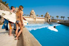 Siam Park in Tenerife, Canary Islands.  Learn to surf on Artificially produced waves, up to 3m!  Sweet!
