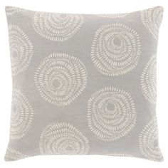Add a pop of pattern to your sofa or loveseat with this eye-catching cotton pillow, showcasing a medallion-inspired motif in light grey.