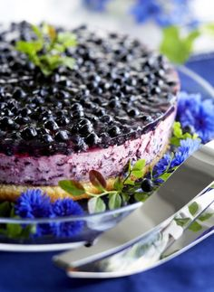 Hyydytetty mustikkakakku, resepti – Ruoka.fi - Blueberry cheese cake Blueberry Cheesecake, Cheesecake Recipes, Dessert Recipes, Desserts, Finnish Recipes, Sweet Pastries, Yummy Cakes, Food Hacks, Yummy Treats