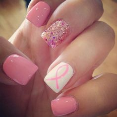 Cool Nail Designs Shellac Awesome Cancer Month Awareness