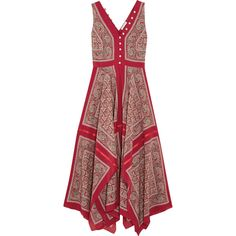Altuzarra Clemmie paisley-print silk maxi dress ($1,075) ❤ liked on Polyvore featuring dresses, red dress, paisley maxi dress, red silk dress, paisley dress and paisley day dress