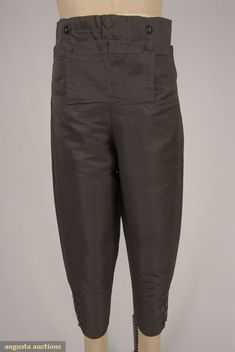 Augusta Auctions, November, 2007 -Tasha Tudor Historic Costume Collection, Lot 55: Gent's Black Silk Twill Breeches, 1810-1830