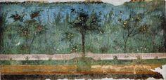 Peinture de jardin de la villa Livia située à Prima Porta, dans le Municipio XX (Cassia Flaminia) de Rome.  C'est une des plus anciennes peintures pariétales de jardin romain dite de deuxième style pompéien. https://fr.wikipedia.org/wiki/Nymphée_souterrain_de_la_villa_Livia