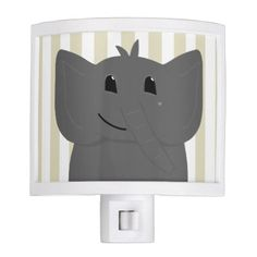 Cute Little Elephant Drawing with Stripes Night Light - drawing sketch design graphic draw personalize