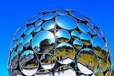 Mirror Magic Ball Brisbane ©    Golden Casket Light Sphere, River Quay, South Bank, Brisbane. All part of the 2012 Brisbane Festival. #brisbanepublicart