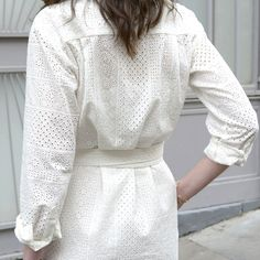 Robe chemise Cécile broderie anglaise - MAISON BRUNE White Pants Outfit, All White Outfit, White Outfits, Ss16, Bohemian Blouses, Cecile, Work Looks, Mode Inspiration, White Fashion