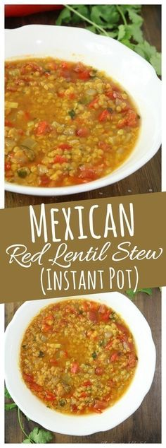 This Instant Pot Mexican Lentil Stew combines red lentils with a variety of garden vegetables in a meatless veggie broth - perfect for a quick dinner and meatless meal. #lentils #meatless #healthy #soup #vegetarian #InstantPot