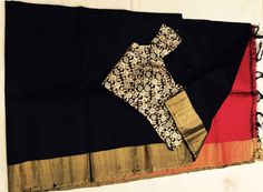 Black raw silk matched with a designer blouse - Buy this look !!