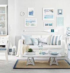 Blue Pastel Beach Living Rooms