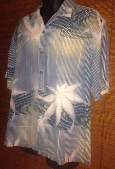 Tommy Bahama L Hawaiian Camp Silk Shirt Rockabilly Palm Tree Leaf  Waves Aloha #TommyBahama #ButtonFront