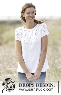"""Knitted DROPS top with leaf pattern, ridges, round yoke and short sleeves, worked top down in """"Muskat"""". Free Pattern"""