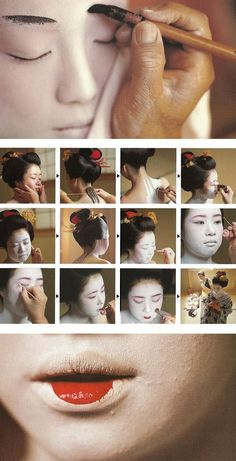 The geisha's make-up, origins and techniques in the geisha make-up art, Japan Japanese Culture, Japanese Art, Japanese Folklore, Traditional Japanese, Japanese Style, Japanese Beauty, Asian Beauty, Japanese Makeup, Geisha Make-up