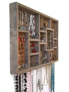 Wood Wall Art Jewelry Organize Display Case $118.00