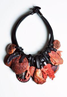 Monies UNIQUE Coral, Carnelian, Warthog Tusk Necklace