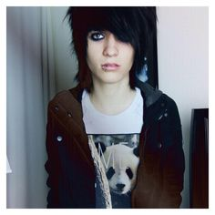 "《JOHNNIE GUILBERT》""Hi I'm Johnnie, I'm 17 and single. I'm a YouTuber and I'm gay. Um...I like pandas"" I chuckle"