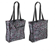 Leopard Print Tote - Black, White & Pink Purse has black nylon straps with 12-inch arm length, 4 x 4 inch inside zip pocket, 11 x 9-1/2 inch outside zip pocket, and 11 x 11 inch outside VELCRO® pocket and 6 x 4 inch black mesh outside end pocket. Matching coin purse has zipper closure and attached loop.