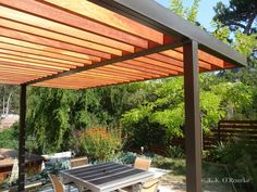 Modern Steel and Wood Pergola