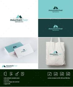 Mountain River Logo Template PSD, Vector EPS, AI Illustrator. Download here: https://graphicriver.net/item/mountain-river-logo/17598438?ref=ksioks