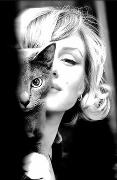 Marilyn Monroe with cat - b & w photo (hva)