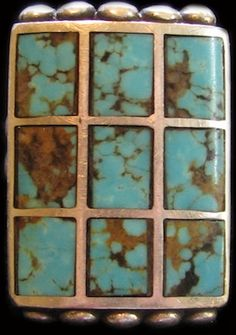 Old Zuni Pawn 9 Turquoise Stone Channel Inlay Ring